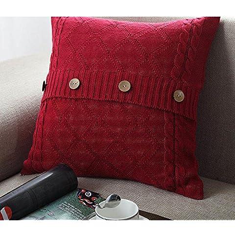 Più colore stile semplice divano cuscino/Tinta unita in cotone lavorato a maglia guanciale/semplice pulsante stile-J 45x45cm(18x18inch)VersionB