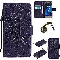 für Smartphone Samsung Galaxy S7 Hülle,Echt Leder Tasche für Samsung Galaxy S7 Flip Cover Handyhülle Bookstyle mit Magnet Kartenfächer Standfunktion + Staubstecker