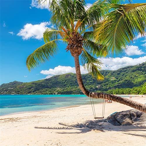Cassisy 1,8x1,8m Vinyl Meer Foto Hintergrund Beau Vallon Beach Kokospalme Insel Mahe Seychellen Fotografie Hintergrund für Photo Booth Party Fotostudio Requisiten