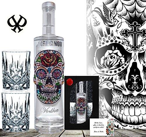 100% Vodka-Set Luxus |Geschenkset Flower Skull Wodka |inkl. zwei geschliffenen Gläsern, Grusskarte und Geschenk-Verpackung| Geschenk für den Mann |Geburtstag