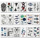 Tatouage temporaire pour adulte enfants femme homme (20 feuilles) Tattoos Étanche 105x60 mm,Chileeany Tatouages Temporaires bras poignet body tattoo Sticker Tatouages éphémères (Multicolore)