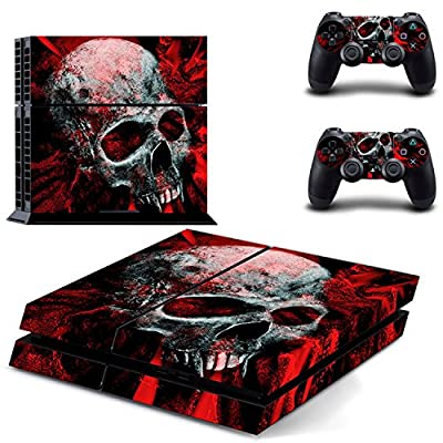 Vinyl Skull Pattern Full Protective Skin Cover Sticker Decal Set for Sony PS4 Console Dualshock Controllers from Sopear