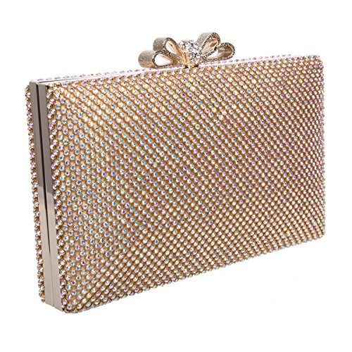 Bonjanvye Bow Purse for Women Rhinestone Crystal Evening Clutch Bags Blue AB Gold