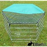 Ellie-Bo Kaninchen-/ Meerschweinchen-Auslauf, für Außenbereich, mit Dach, verzinkt, 6-teilig
