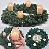 PROHEIM Weihnachts-Kranz Ø 45 cm Voll-PE Tannen-Kranz inkl. 4 weißen LED Echtwachskerzen schwer entflammbarer Deko-Kranz B1-Zertifiziert