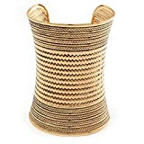 Wide Gold Textured Egyptian Style Cuff Bangle - 10cm Width