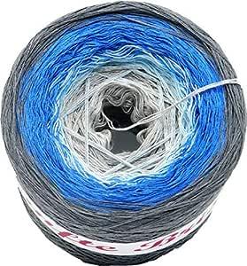 Häkel- Farbverlaufsgarn - Bobbel Sanfte Brise Hellgrau-Hellblau-Blau-Mittelgrau 4 Farben 4 Fäden Lauflänge: ca.1.050m 50% Baumwolle - 50% Polyacryl Nadelstärke: 3-4