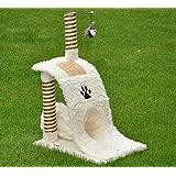 nanook Katzen-Kratzbaum Wave, 84 cm mittelhoch mit Kratzwelle und Katzentunnel, braun weiß