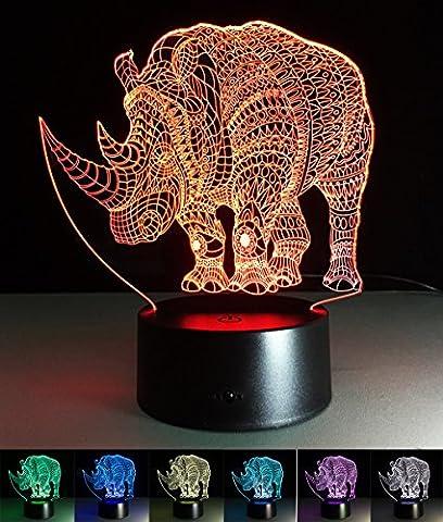 Art Deco Lampen, LED Nachtlampe der LED 3D Farbe die geführte Lichter, Kind-Raum Ausgangsdekoration-bestes Geschenk, Noten Kontroll Licht 7 Farben ändert USB angetriebene Schreibtisch Lampen (Rhino)