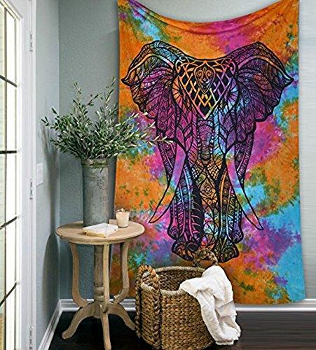 Tapiz Raajsee para colgar en la pared en blanco y negro, bohemio, hippie, étnico, decoración de dormitorio, alfombrilla para yoga, toalla para playa, 140 x 220 cm, algodón, Multi Elephant, 54 * 84