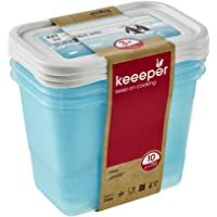 keeeper Food Containers, Set of 3, Freezable, Labelled Lid with Rewritable Surface, 3 x 1 L, 15.5x10.5x11.5 cm, Mia…