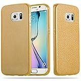 Cadorabo Hülle für Samsung Galaxy S6 Edge - Hülle in Sternenstaub Gold – TPU Silikon und Hardcase Handyhülle im Glitzer Design - Hard Case TPU Silikon Schutzhülle