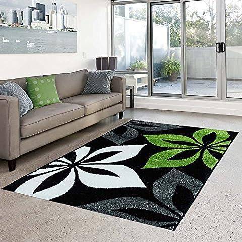 Teppich Modern Style Öko-Tex Blume grau grün creme schwarz verschiedene Größen, Größe in cm:120 x 160 cm