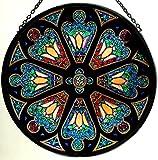 Dekorativer handbemalter Glasmalerei-Sonnenfänger in einem Tiffany Rose Fenster Design
