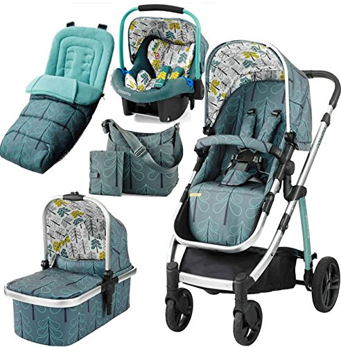 Cosatto wow Travel system with Port bag and footmuff in Fjord Cosatto Includes - Pushchair, Carrycot, Port Car seat, Footmuff, Changing bag and Raincover Suitable from birth up to 15kg (4 years approx.) 'In or out' facing pushchair seat lets them bond with you or enjoy the view. 1
