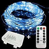 E-Goal 1 Set 5Meter 50 Micro LEDS Flexible Sliver Wire Battery Operated Starry Strip Lights Waterproof for Indoor & Outdoor Decoration With 8 Modes Remote Controller(5m,Blue)