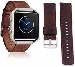 For fitbit Blaze wristband,Binmer(TM) Luxury Leather Watch band Wrist strap for Fitbit Blaze Smart Watch (Brown)
