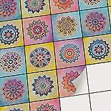 creatisto Fliesenaufkleber - Mosaikfliesen | Fliesenfolie Statt Fliesenlack | Klebefolie für Bad-Fliesen - Küchenrückwand und Fliesenspiegel verschönern | 10x10 cm - Motiv Indian Tiles - 36 Stück