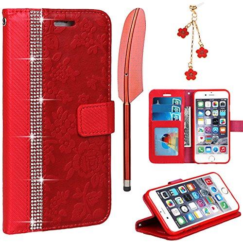 Coque pour iPhone 6/6S, xhorizon Coque de portefeuille de Luxe Bling Strass et de Fleur de Texture en PU Cuir avec des fentes de cartes (stylet de style de plume + bouchon de poussière comme un cadeau Rouge