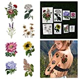 Tattify Colorful Flower Temporary Tattoo Pack - Potpourri (Complete Set of 16 Tattoos - 2 of each Style) - Individual Styles Available