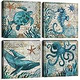 REDWPQ Stampe su Tela a Tema Oceano Animali marini Polpo Tartaruga Cavalluccio Marino Immagini di Arte murale Poster Personalizzati Decorazioni per Il Bagno Senza Cornice 40x40 cm * 4
