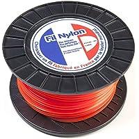 Fil débroussailleuse nylon 4 mm x 50 m. Carré. Orange. Bobine