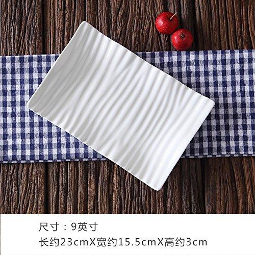 MLGG Blanc Pur rectangulaire la Plaque Plaque céramique 9 Pouce Plat Quatre caricato