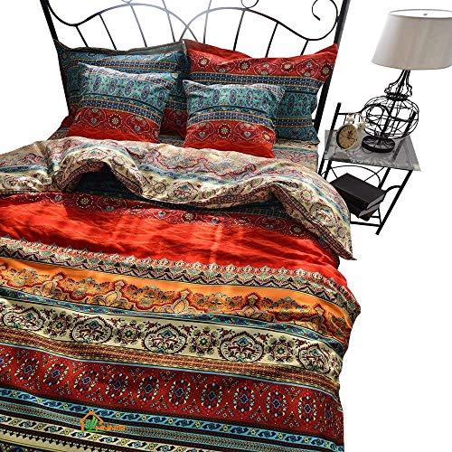 HNNSI Bohemia Exotic Gestreift Betten Sets 4Stück, Gebürstete Baumwolle Boho Tröster, Bettbezug mit Bettlaken, Keine Tröster California King Fitted Sheet Set -