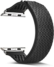 Memore® Silicone Mash Strap Band, Apple Watch Strap, Apple Watch Band, Replacement Wrist Band, Bracelet Band for Apple Watch, iWatch, Series 1, Series 2, Series 3 & Nike Sport Series (42mm, Black) (MB-6)