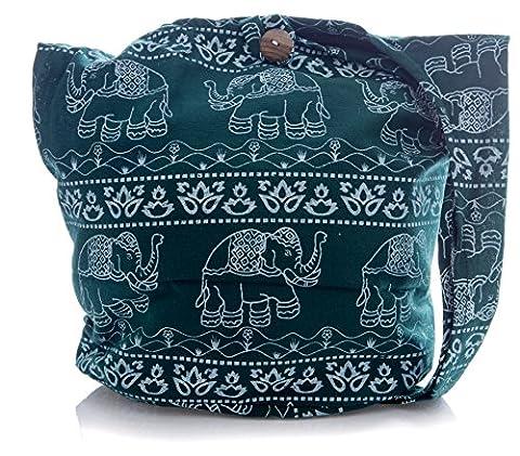 Avarada Thai Cotton Hippie Hobo Sling Crossbody Bag Messenger Purse Bohemian Elephant Flower Green