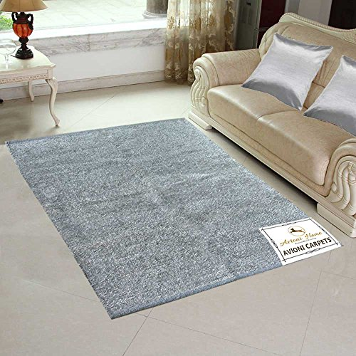 Avioni Handloom Rugs For Living Room Solid Colors Reversible -3 Feet X 5 Feet