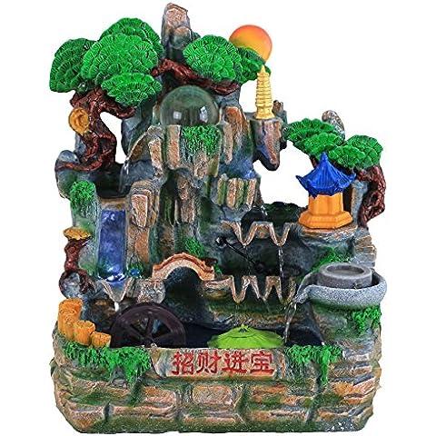 MYM Fontana di giardino roccioso e l'acqua dell'interno dei bonsai aperto tavoli da biliardo fortunato (Tavolo Cornucopia)