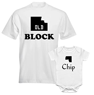 b698b78f Old Block Chip Funny Character Slogan Dad Father Son Daughter Matching T  shirt - White Colour Men and Children Tees - Family Match T-shirts:  Amazon.co.uk: ...