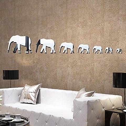 Die neue Acryl Wand Aufkleber Großhandel 3D Elefanten kreativen Hintergrund Dekoration Spiegel Stick Cartoon (Großhandel Wand-aufkleber)