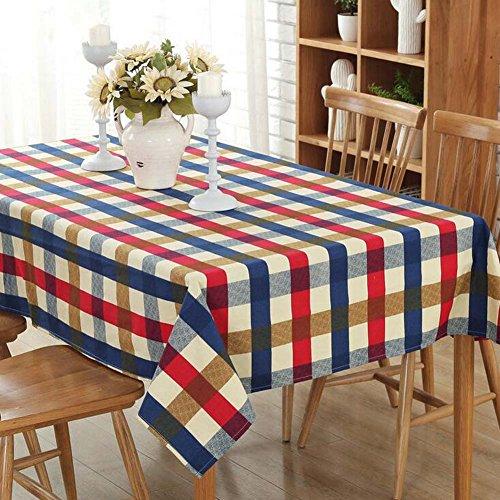 JOMNM Landhausstil Senior Leinwand Runde Rechteck Tischdecken Picknick - Decke, Retro - Tischdecke Für Esszimmer,Café,Hotel. (140X200CM, - Rechteck Tischdecke Blau