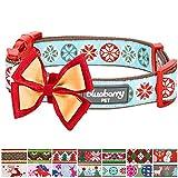 Blueberry Pet Weihnachtszeit Halsbänder 2cm M Momente des Glücks Retro Schneeflocken Designer Hundehalsband mit Abnehmbarer Fliege