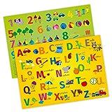 Tischset mit Lerneffekt - 2in1 - ABC/ Alphabet & 123/ 1x1 - Platzset für Kinder