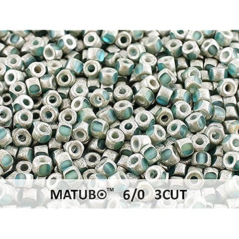 10gr 6/0 MATUBO 3CUT - Ceco Perle pressate di vetro, del taglio di macchina, Aquamarine Old Silver Matte