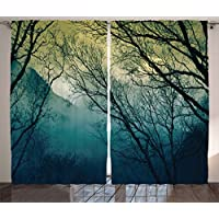 Nature Decor Curtains by Ambesonne, Surreal Morning Fog in Mist Forest Mountain Valley Habitat Themed Himalayan Print, Living Room Bedroom Window Drapes 2 Panel Set, 108W X 63L Inches, Blue