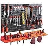 VonHaus Stecktafel & Werkzeugregal - Wandregal für Werkstatt - Wandbefestigung, mit 50 gemischten Haken - Ideal für Zuhause, Schuppen, Werkstatt oder Garage