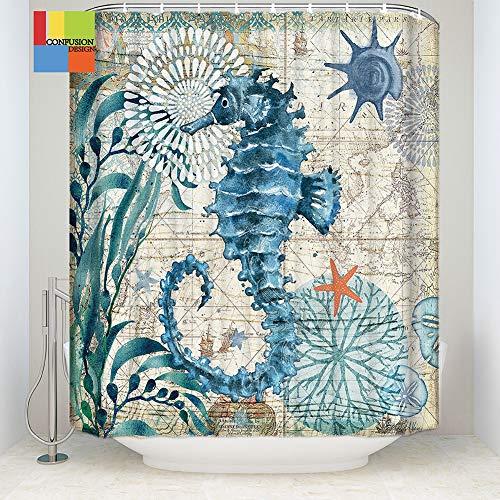 Jiaoxm tenda da doccia ocean 3d, tenda da bagno impermeabile in poliestere, tenda da doccia stampata digitale lavabile con gancio per tende,b,91×183cm(36×72in)