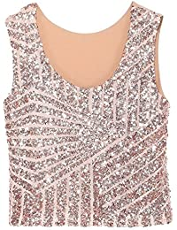 Swallowuk Damen Mode Shine Glitzer Pailletten Weste Ärmellos Short Tank Top  Party Oberteil (Rosa) 1497fcebca