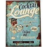 Dadeldo Living & Lifestyle Blechschild Cocktail Lounge Design Metall 40x30cm bunt Retro Nostalgie Sprüche Reklame