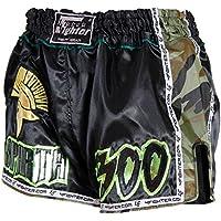 4Fighter SPARTA NEGRO Muay Thai Shorts satén con verdes páginas de nylon camo marrón, Talla:XXL