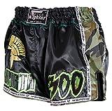 4Fighter Sparta Black Camo Low Waist Muay Thai Shorts Satin mit grün braunen Camo Nylon Seiten, Größe:M