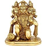 Hinduism Symbol Lord Hanuman With Lord Rama And Laxman Brass Figurines Large Indian Décor 12 inch,8.9 Kg