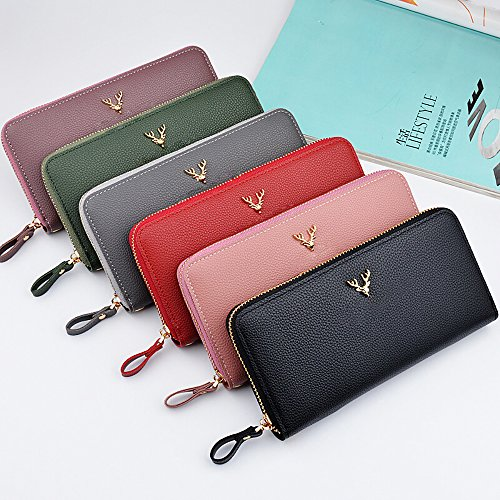 Litchi Grain Long Large Wallet Purses per donna Clutch Handbags con cinturino da polso Viola