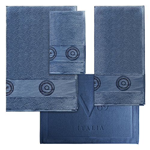 Set 3Handtücher + Badteppich Versace 19V69Abbigliamento Sportivo SRL blau