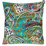 Aakriti Gallery - Funda de cojín de estilo indio, hecho a mano, diseño estampado estilo vintage, algodón, algodón, verde azulado, 41x41 cm
