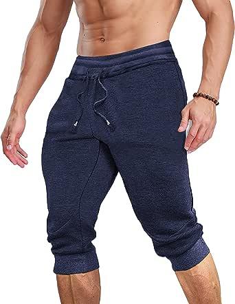 COOFANDY Pantaloni da uomo a 3/4 da jogging, pantaloni corti da allenamento, aderenti, per fitness, elasticizzati, traspiranti